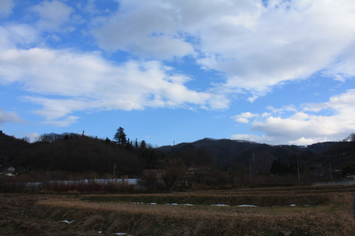 福島県福島市花見山公園2020年12月28日画像。寒々しい花見山
